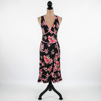 80s Sleeveless Black Floral Dress Sexy V Neck Empire Waist Party Dress Knit Club Dress High Low Rampage Vintage Clothing Womens Clothing