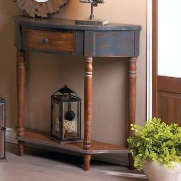 Rustic Weathered Distressed Wood Half Moon Hall Entry Display Accent Table