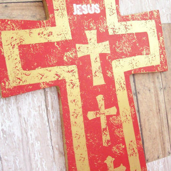 Red and Gold Christian Decor, Wood Wall Art, Wood Wall Decor, Cross Wall Decor, Christmas Cross, Christmas Decoration,  Large Wall Cross