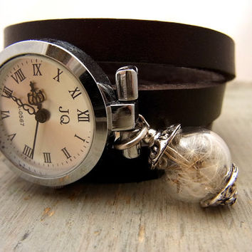 Wrap Watch with Real Dandelion - working SILVER wrist watch, genuine brown leather with real dandelion seeds in glass orb charm