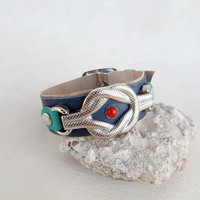 Nautical bracelet, navy blue leather cuff, knot bracelet leather