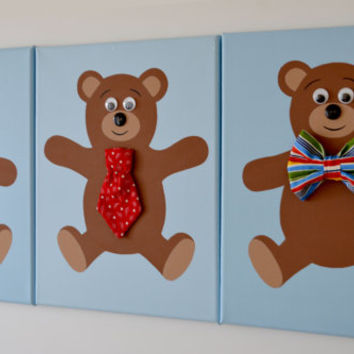 Set of three Teddy Bear canvases. Boy room wall art.