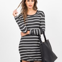 Long Sleeve Striped Rib Dress