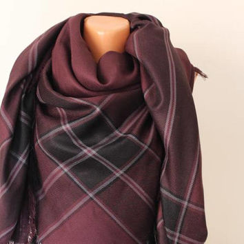EXPRESS SHIPPING !Oversized Blanket Scarf Burgundy,Oversized Plaid Tartan Scarf, Gift for Women or Men, Unisex Shawl, Wrap Scarf,Burgundy
