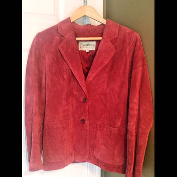 Deerskin Trading Post 100% Leather Suede Womens Pink Jacket Coat Size 12 Vtg