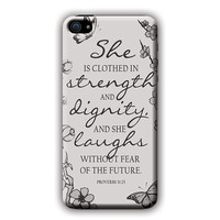 Bible Verse (Proverbs 31:25 Grey) Cell Phone Case for Iphone and Galaxy Phone Case and Phone Covers.