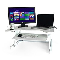 "Ergonomic Adjustable Height Standing Desk Monitor Stand 32"" Wide Desk Converter in White"