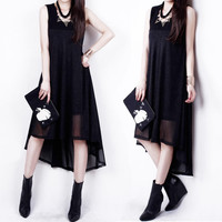 Best Sale!! Stylish Lady Women Sexy O-Neck Sleeveless Sundress Patchwork Irregular Hem Loose Cool Casual Party Dress