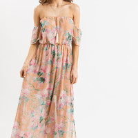 Karina Peach Floral Off the Shoulder Maxi Dress