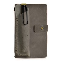 Handmade Refillable Leather Travelers Journals Pencil Case Set of Two (Silver)