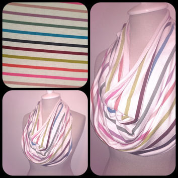 Multi Color Stripe Knit Infinity Scarf by CapurroCustoms on Etsy
