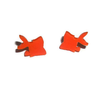 Cute Goldfish Earrings, Kawaii Orange Fish Stud Earrings, Animal Jewelry