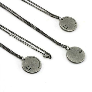 ONETOW BLINDREASON' Fashion Retro Engraved Letter Numeral Pendant Couple Necklace