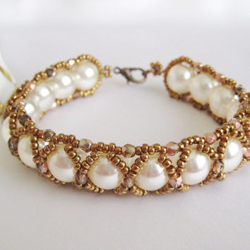 Beadwork Bracelet, Elegant beaded bracelet with bronze and ivory beads, handmade beaded jewelry, crystal pearl bracelet