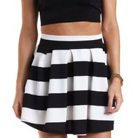 Striped & Pleated Skater Skirt by Charlotte Russe