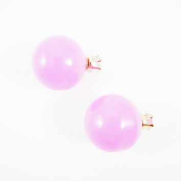 Lilac & Rhinestone Double Pearl Earrings