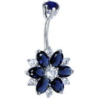 Sterling Silver 925 Sapphire Blue Cubic Zirconia Sensational Flower Belly Ring | Body Candy Body Jewelry