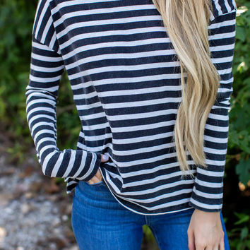 Charcoal Striped Long Sleeve