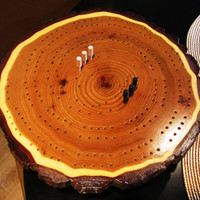 butternut wood cribbage board with pegs, lazy susan style