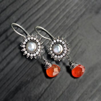 Carnelian & Pearl Silver Jhumkas, pearl earrings, carnelian dangles, bali earrings, ethnic jewelry, orange white jewelry, indian jewelry