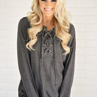 Cozy in Lace Sweater ~ Charcoal