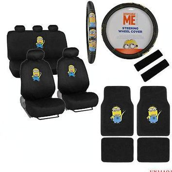 Licensed Official New Despicable Me Minions Car Seat Covers Steering Wheel Cover Floor Mats Set