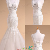 Mermaid sheer straps sleeveless tulle with appliques wedding dress