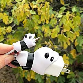 Big and Small Animal Buddies Phone Cord Bites -USB Cable Protector for iPhone - Cute Animals Protects Cell Phone Accessories & Bites Data Line - Bite Cord Phone Accessory (Panda)