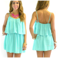 Willow Lake Emerald Chiffon Tank Dress