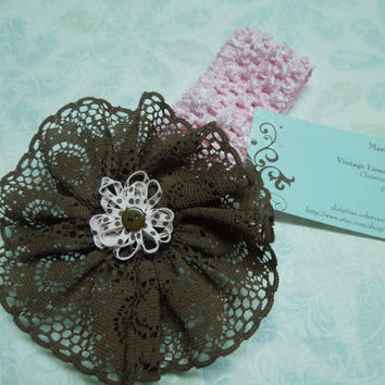 Pink Crochet headband with Chocolate Brown Lace flower for children, valentines, easter, baby, hair accessories by MarlenesAttic
