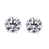 Round Cut Clear CZ Stainless Steel Men Magnetic Stud Earrings No Piercing 5mm