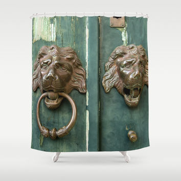 Lion heads of precious metal Shower Curtain by tanjariedel