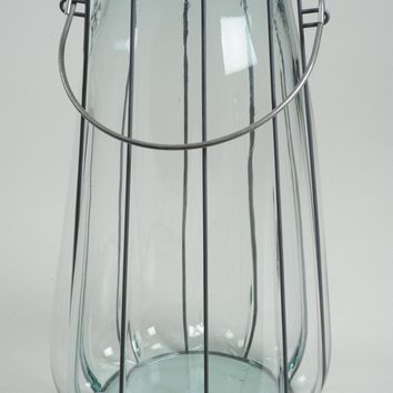 "14.5"" Tea Garden Hand-Made Transparent Recycled Spanish Glass Vase with Metal Handle"