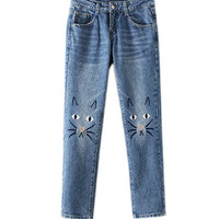 Distressed Jeans with Cat Embroidery