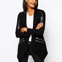 River Island Long Line Jacket With Leather Look Inserts