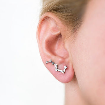 Big dipper earring,silver big dipper,star earrings,galaxy earring,constellation earring,astronomy jewelry,star earring,great bear,ursa major
