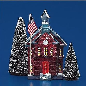 Department 56 Snow Village New School House # 50377 Year 1986 Very Rare