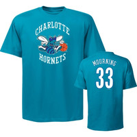 Majestic Alonzo Mourning Teal Hardwood Classic Name & Number Charlotte Hornets T-Shirt