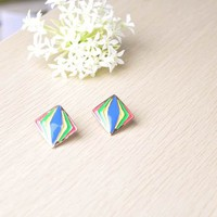 Retro Colorful 3D Illusion Diamond Shape Earrings 801