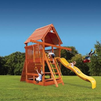 Playground One Deluxe Fort Spacesaver Double Swing Arm