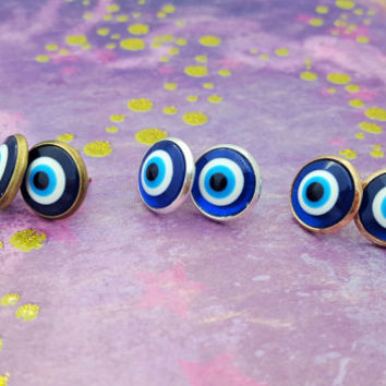 Evil Eye Earrings, Eye Studs, Resin Eyes, Evil Eye Jewellery, Turkish Jewelry, Blue Evil Eye, Earring Studs, Casual Earrings, Eyeballs