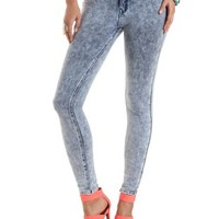 "Refuge ""Skin Tight Legging"" Knit Skinny Jeans - Lt Acid Wash"