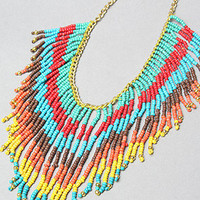 The Bright Bead Fringe Necklace
