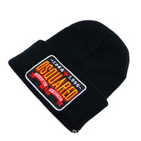 DSQUARED2 BURNIN CANADA Beanie Knitted Cotton Elastic Mens & Women's Casual Warm Winter Black Cuffed Skully Hat
