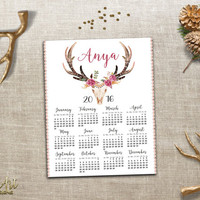 Personalized 2016 Calendar Printable 2016 Calendar Floral Deer Antler 2016 Wall Calendar Custom Name Printable Wall Calendar Boho Wall Decor