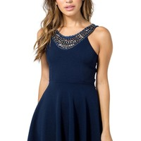 Studded Bib Flare Dress