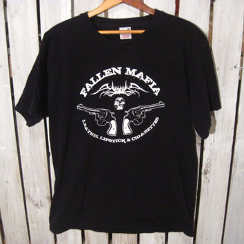 Fallen Mafia T-Shirt, Leather, Lipstick and Cigarettes, Size Large. Metal UK. Upcycled Clothing