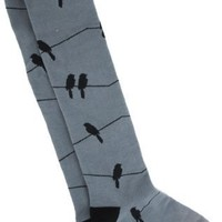 Sock It To Me Birds On A Wire Knee High Socks - More Colors!, Grey/Black, One Size