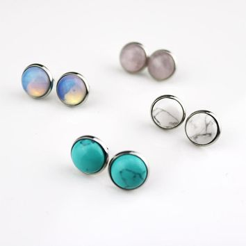 4colors natural stone earrings stainless steel 12mm round opal pink crystal stud earrings for women jewelry