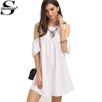 Sheinside Ladies Summer White Ruffle Cold Shoulder Shift Dress 2016 Round Neck Half Sleeve Straight Mini Dress